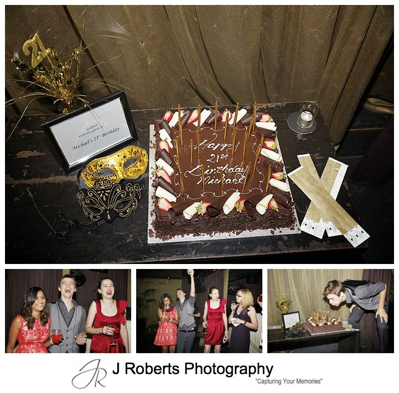 21st birthday cake and masquerade masks - sydney party photography