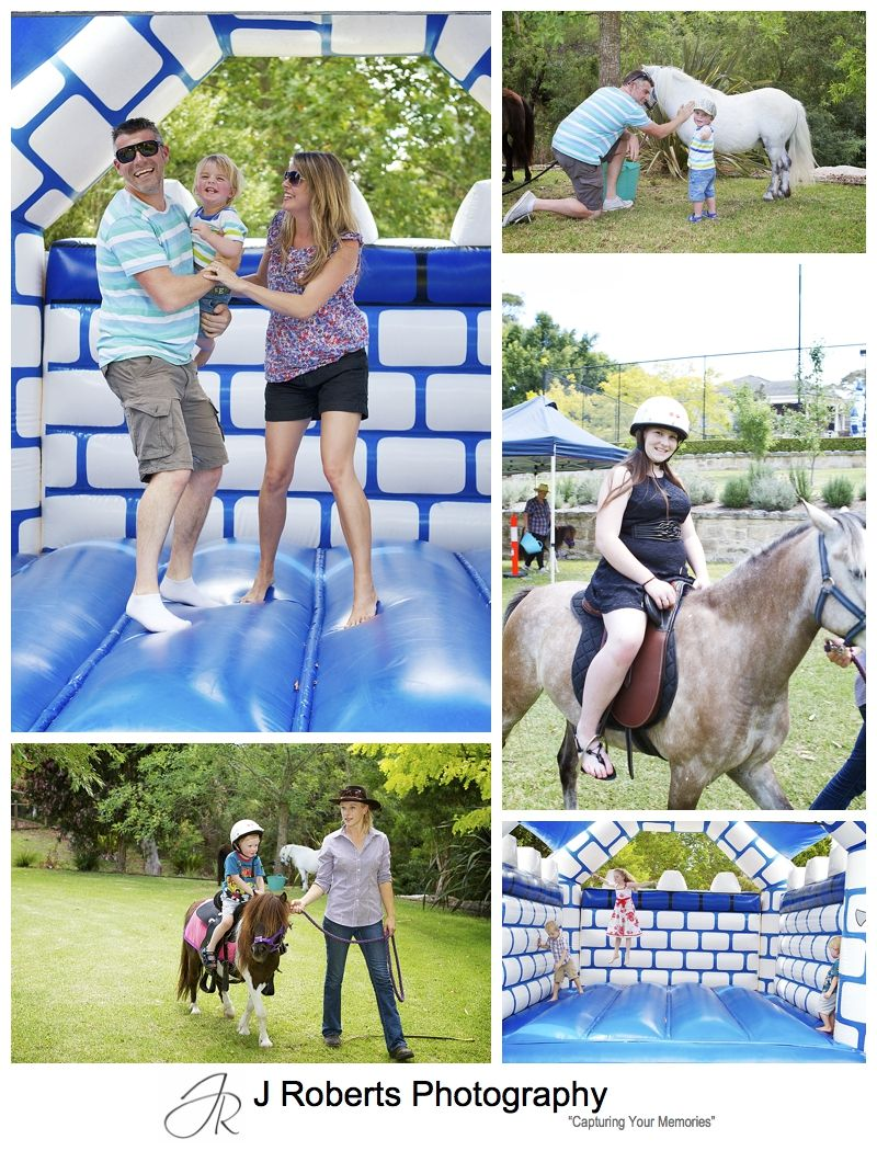Jumping castle and pony rides at a party - sydney party photography