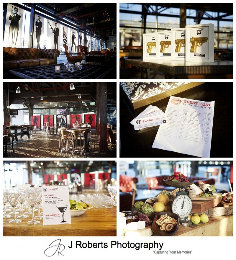 James Bond themed birthday party at Pier 8 Cafe Sydney - Sydney party photography