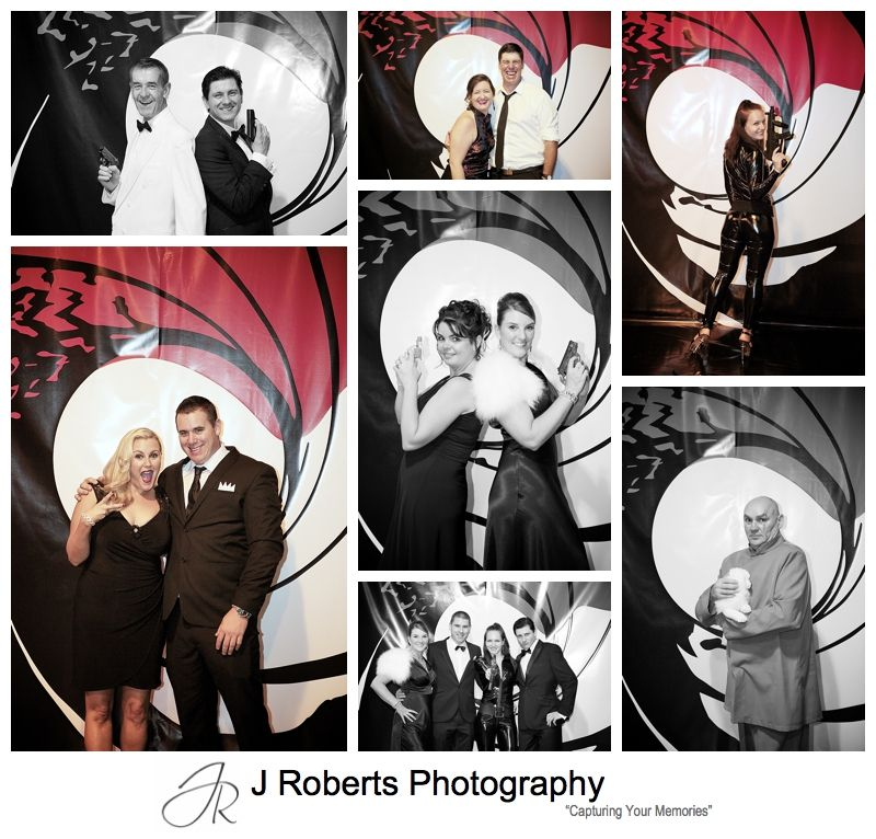 James bond theme wall backdrop at birthday party - sydney party photography
