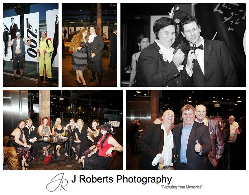Guests dressed in james bond theme outfits for party - sydney party photography