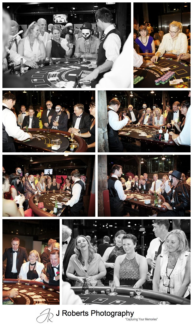 Black jack tables at james bond themed birthday party - sydney party photography