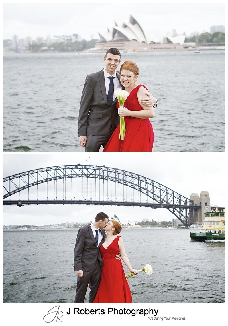 Bride and groom with bride in red dress on sydney harbour - sydney wedding photography
