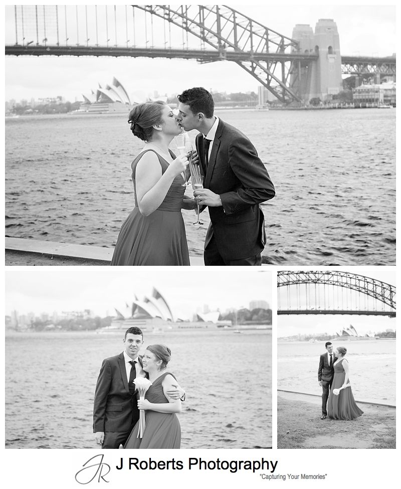 B&W portraits of wedding couple at blues point - sydney wedding photography