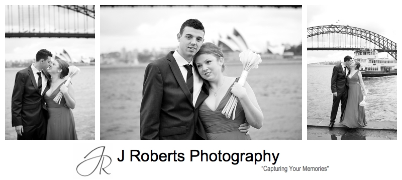 B&W portraits of wedding couple on rainy day - sydney wedding photography