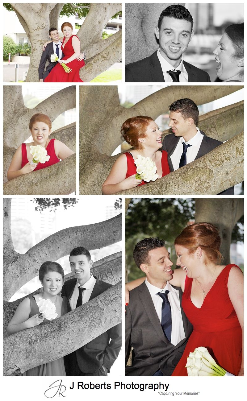 Couple portraits with bride in red dress - sydney wedding photography