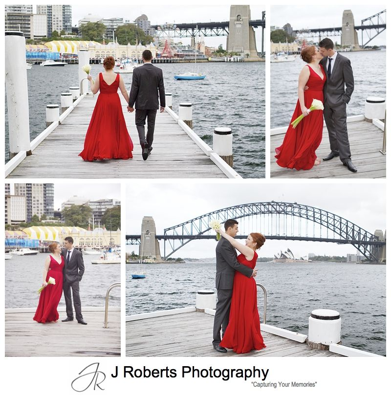 Couple walking along the pier at blues point - sydney wedding photography