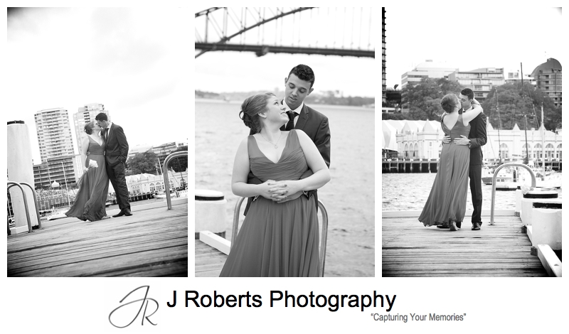 Kissing couple on the pier at blues point - sydney wedding photography