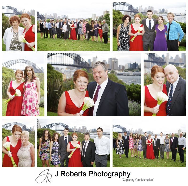 Family and group photographs at a wedding at clark park lavender bay - sydney wedding photography