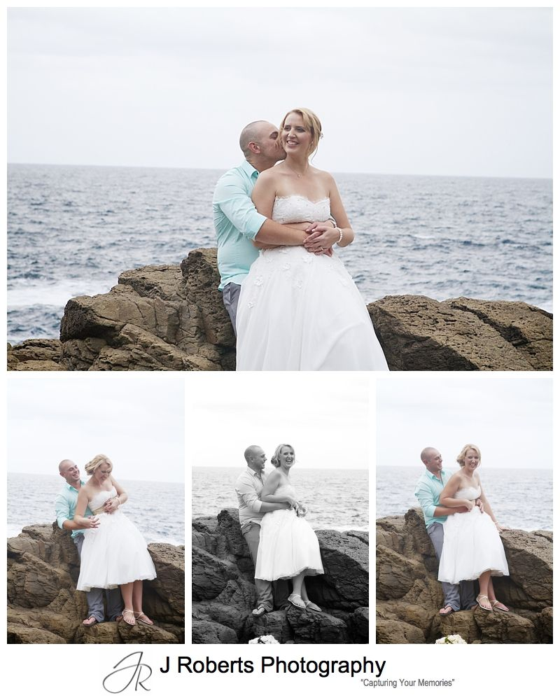 Bridal couple on the rocks at Kiama headland - sydney wedding photographer