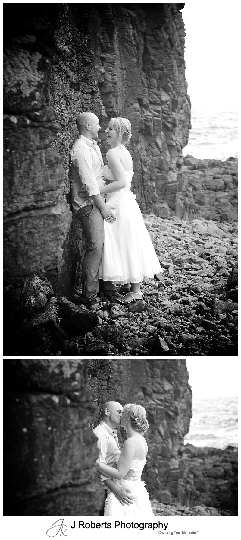 B&W portraits of a bride and groom in Kiama - sydney wedding photographer