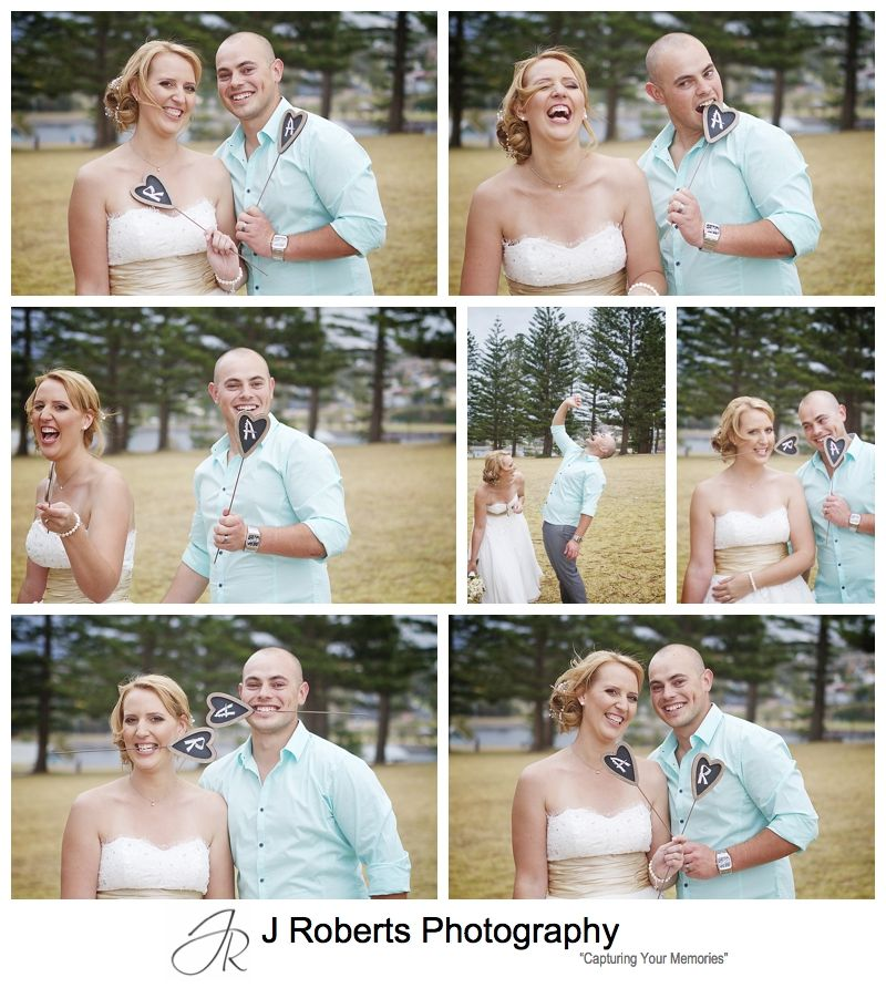 Bride and groom playing with heart initials - sydney wedding photographer