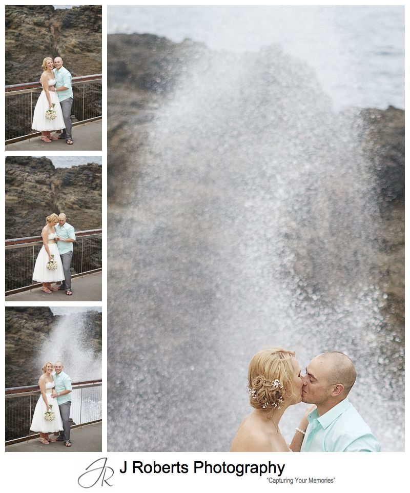 Bridal couple at the Kiama blow hole - sydney wedding photographer