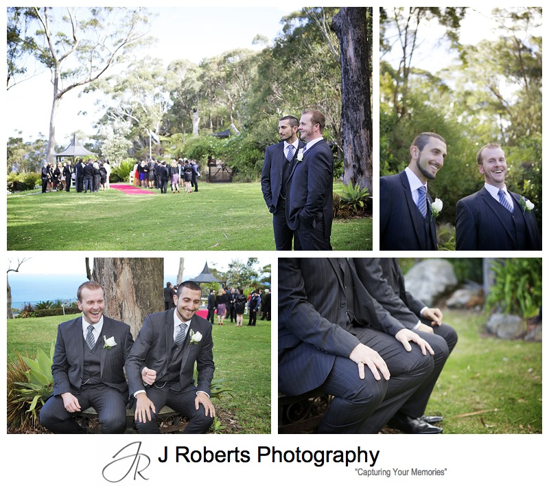Groom with his best man having fun - sydney wedding photography