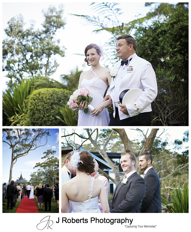 Brides arrival at wedding ceremony on the lawns of Tumbling Waters Resort - sydney wedding photography
