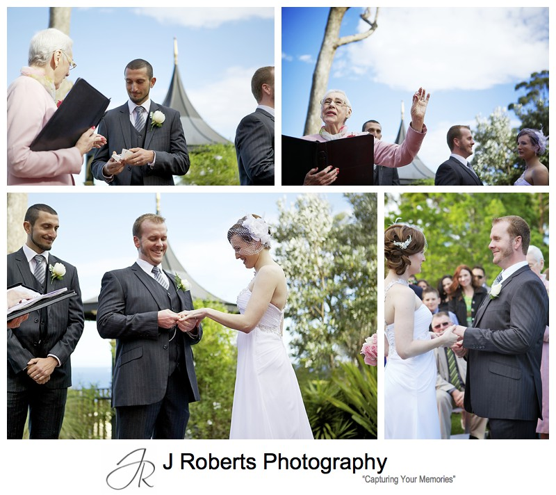 Exchanging of rings in wedding ceremony - sydney wedding photography