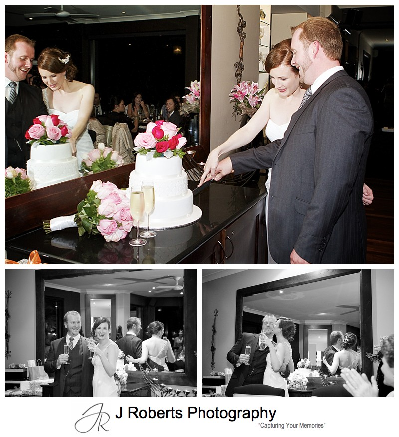 Couple cutting their wedding cake - sydney wedding photography
