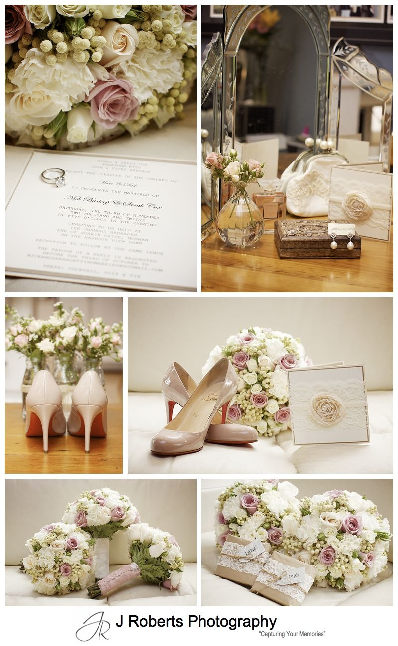 Soft Flowery Vintage Theme details for a wedding - sydney wedding photography