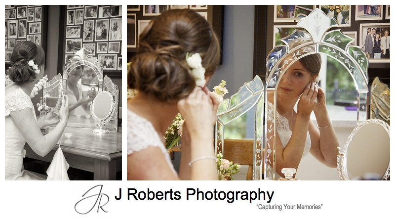 Bride getting ready in front of a vintage mirror - sydney wedding photography