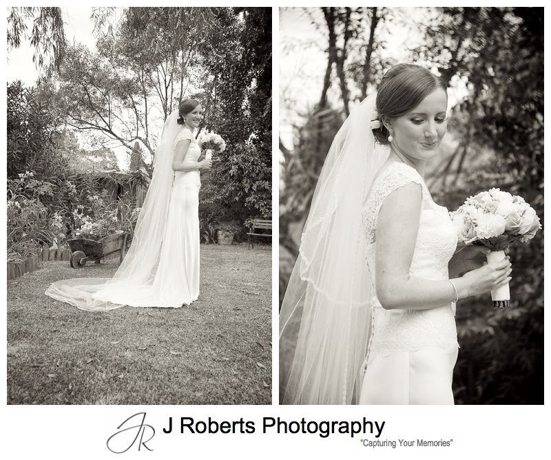 Sepia portraits of a bride - sydney wedding photography