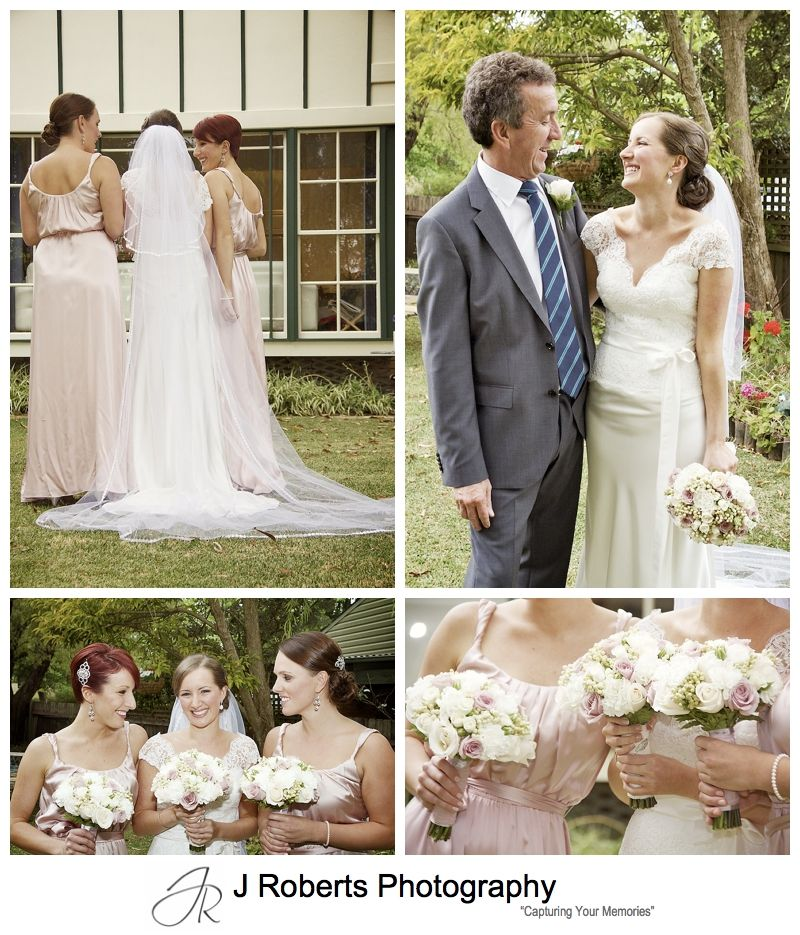 Bride with bridesmaids and father pre wedding - sydney wedding photography