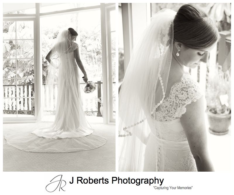 Sillouette of bride in lace detail dress - sydney wedding photographer