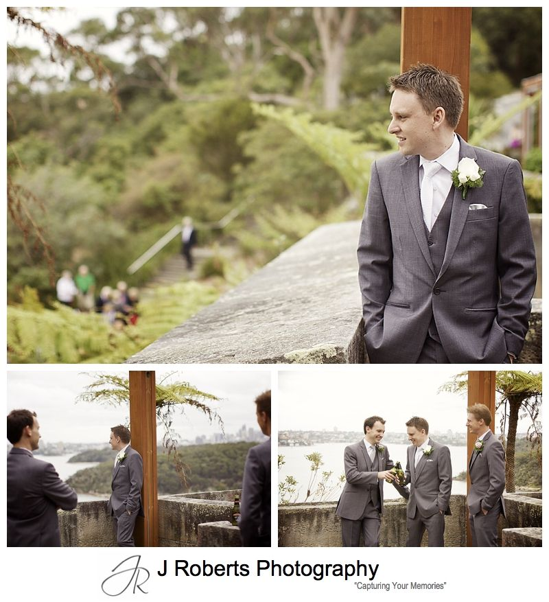 Groom having beers with groomsmen before wedding - sydney wedding photography