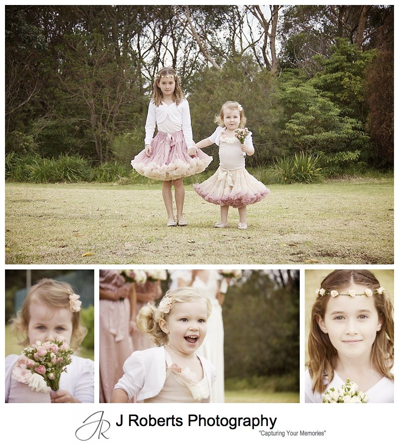 Flower girls in pink and cream tutus - sydney wedding photography
