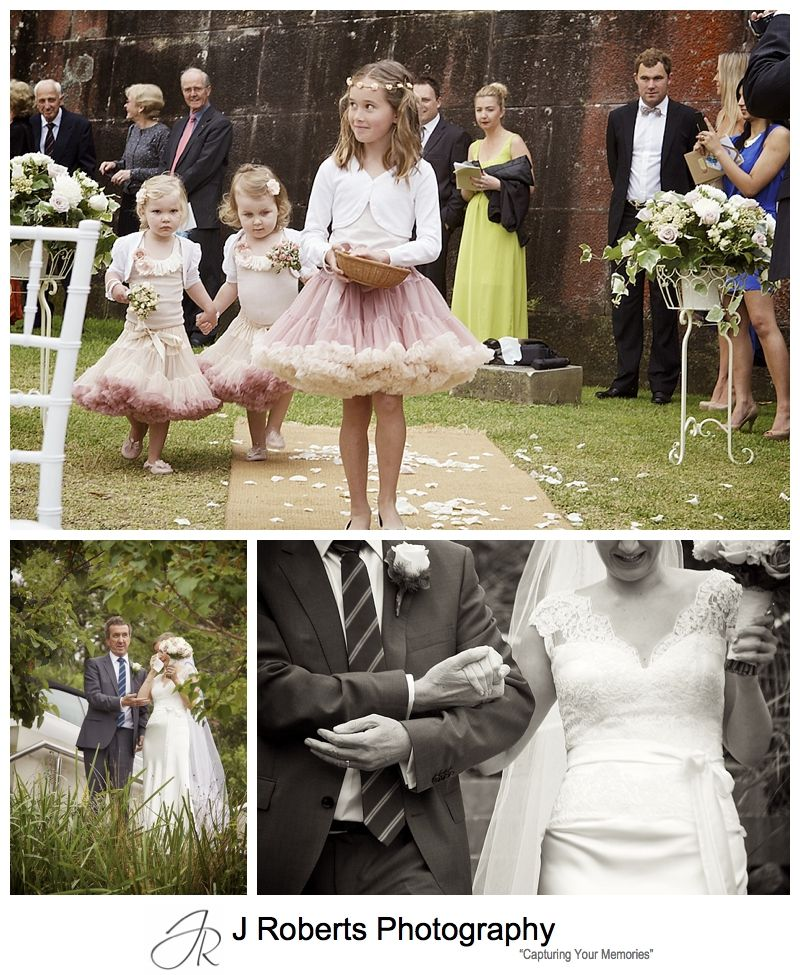 Flowergirls walking down that aisle of wedding ceremony at Gunners' Barracks Harbour Lawn - sydney wedding photography