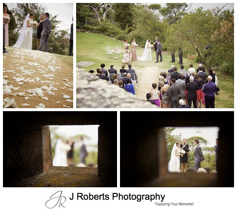Wedding ceremony on the Harbour Lawn at Gunners' Barracks Mosman - sydney wedding photography