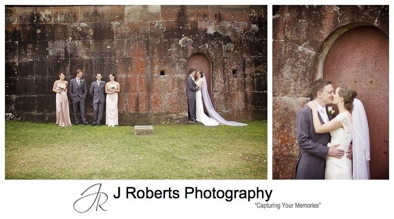 Sepia wash bridal photos at the Gunners' Barracks wall - sydney wedding photography