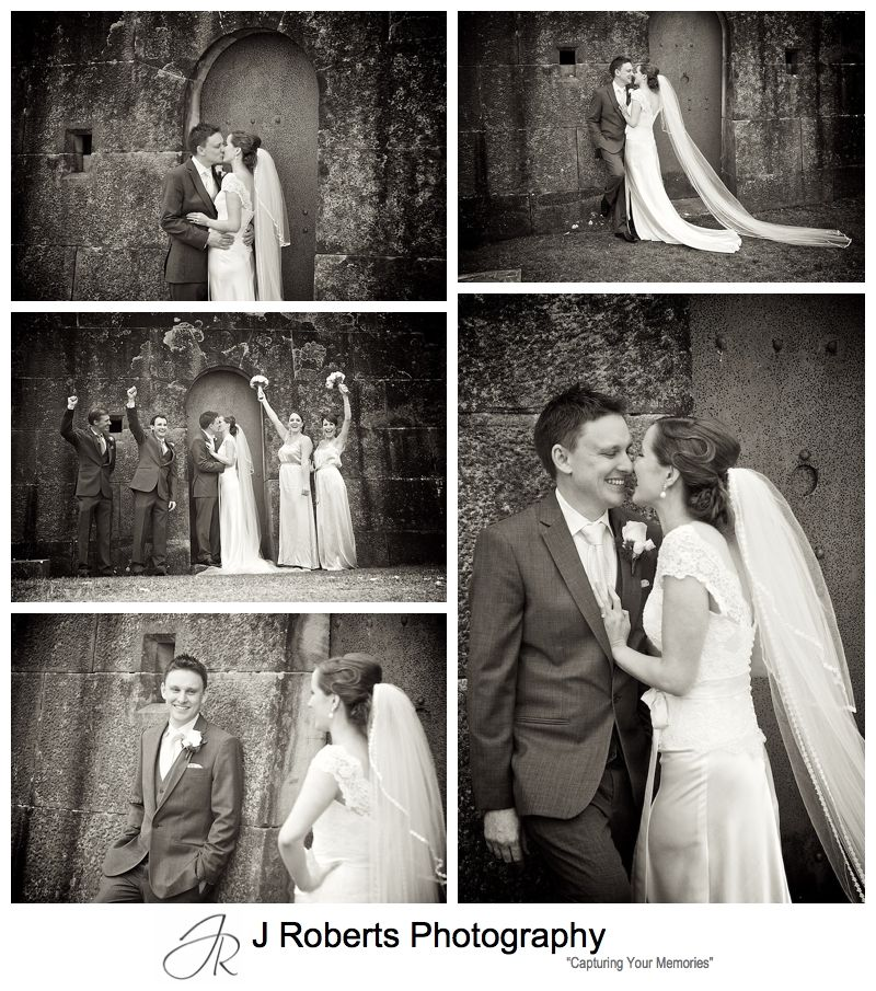 B&W portaits of a bride and groom at Gunners' Barracks Mosman - sydney wedding photography