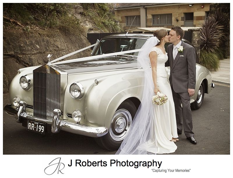 Couple in front of bridal car - sydney wedding photography