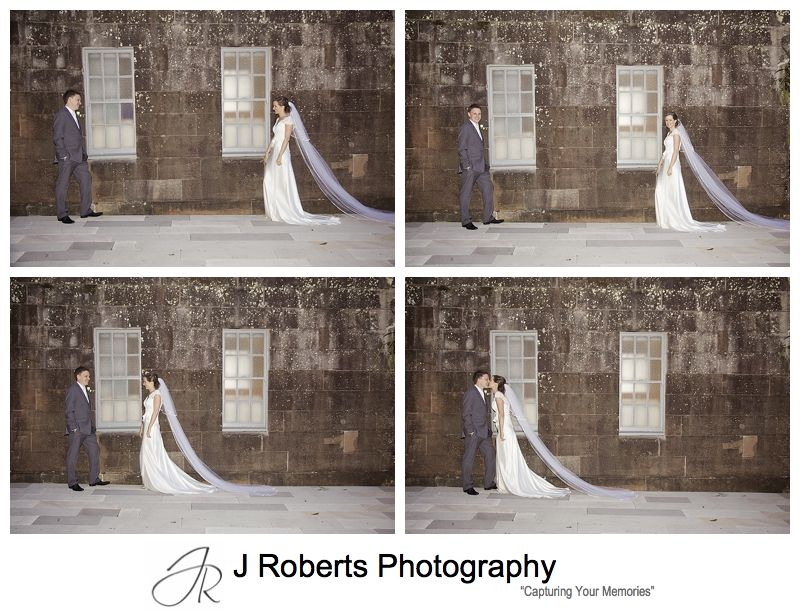 Triptick of couple in front of windows - sydney wedding photography