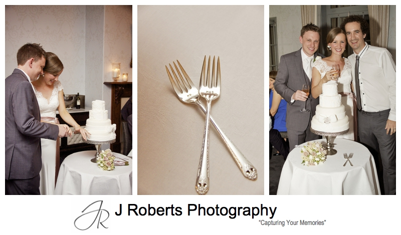 Cuting the cake with Mr & Mrs forks - wedding photography sydney