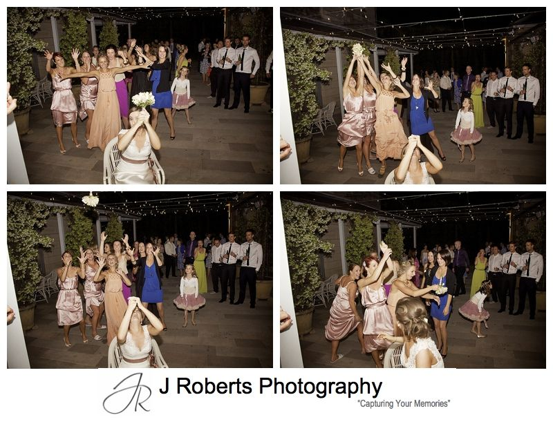 Throwing the bouquet in the courtyard at Gunners' Barracks Mosman - sydney wedding photography