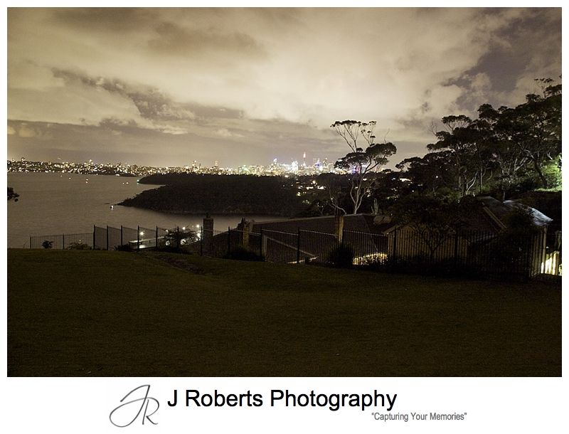 City skyline at night from Georges Heights Mosman - sydney wedding photography