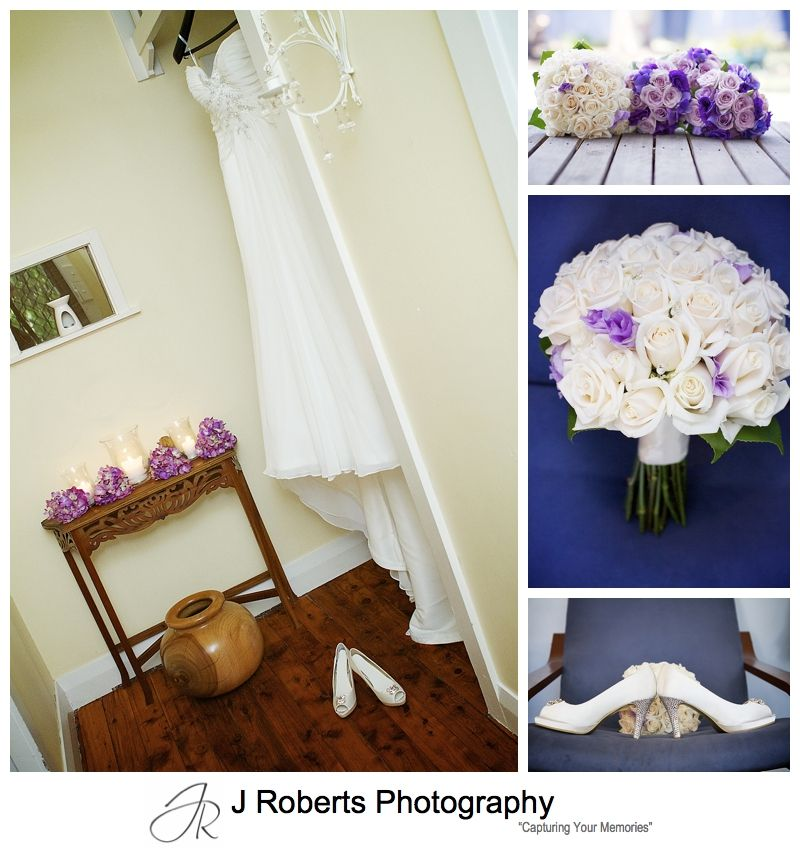 Wedding dress and flower details with purple theme - sydney wedding photographers