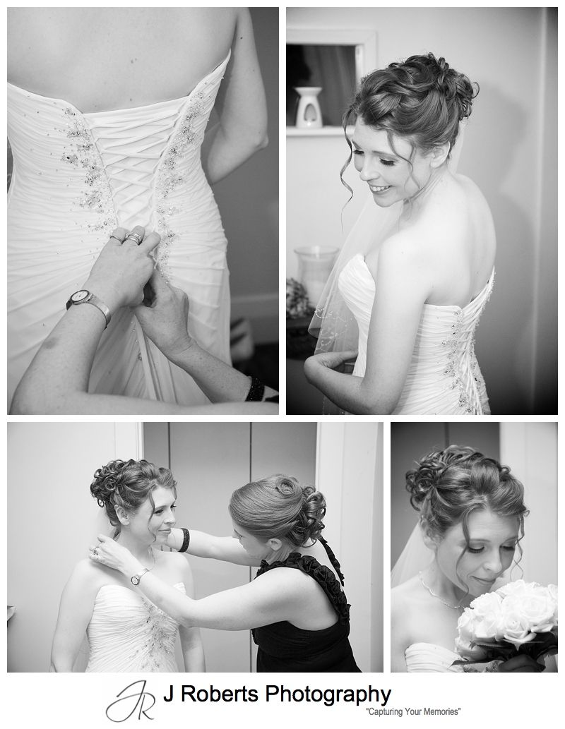 B&W portraits of bride getting into wedding dress - sydney wedding photographer