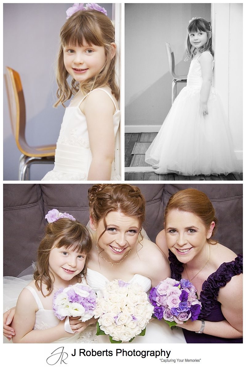 Flower girls in white dress with purple flowers - sydney wedding photographer
