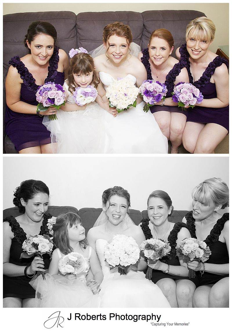 Bride with bridesmaids in purple - sydney wedding photographer