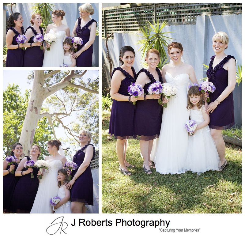 Bride laughing with bridesmaids pre wedding - sydney wedding photographer
