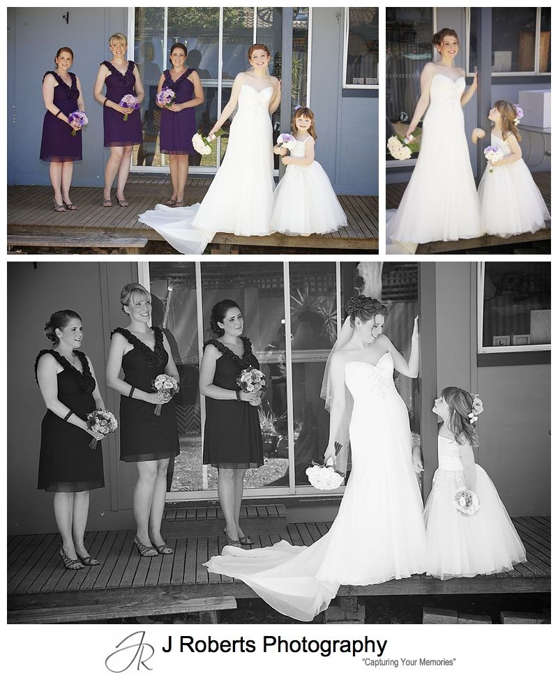 Bride with attendants on verandah of family home in Gladesville - sydney wedding photographer