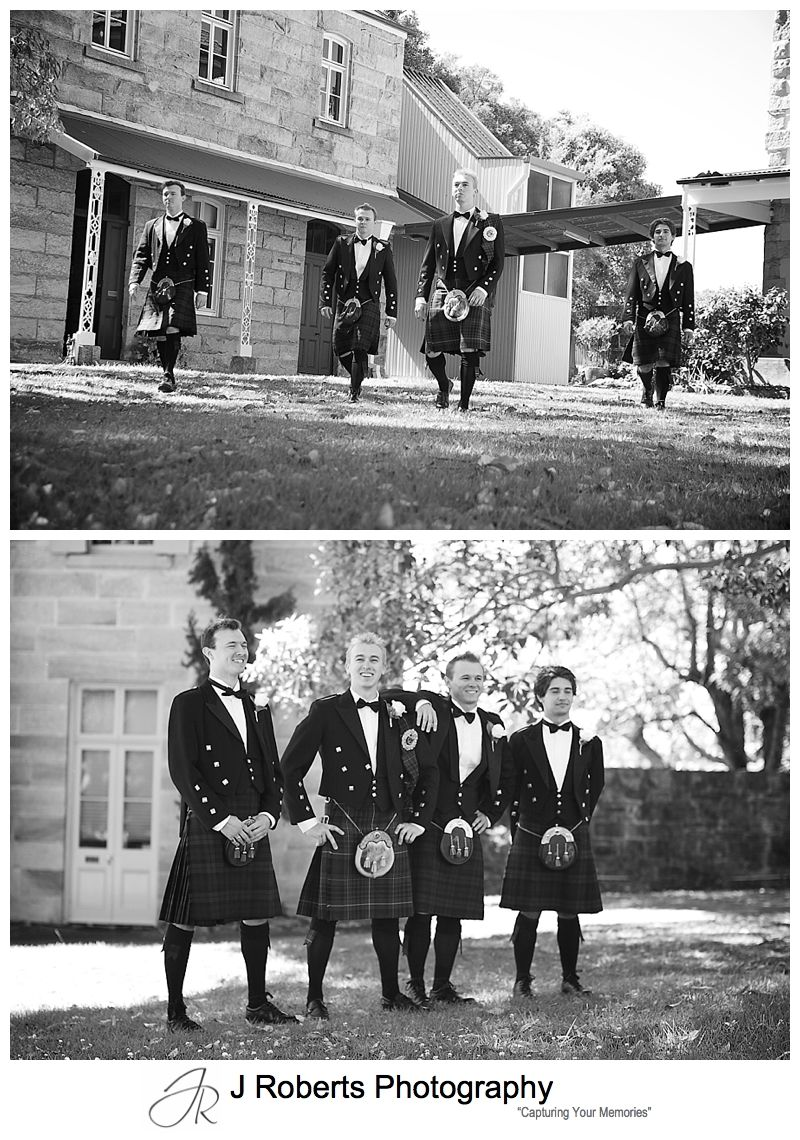 Groom and grooms men in kilts at Holy Name of Mary Church Hunters Hill - sydney wedding photographer