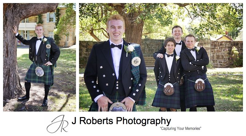 Groom having fun with groomsmen in kilts - sydney wedding photographer