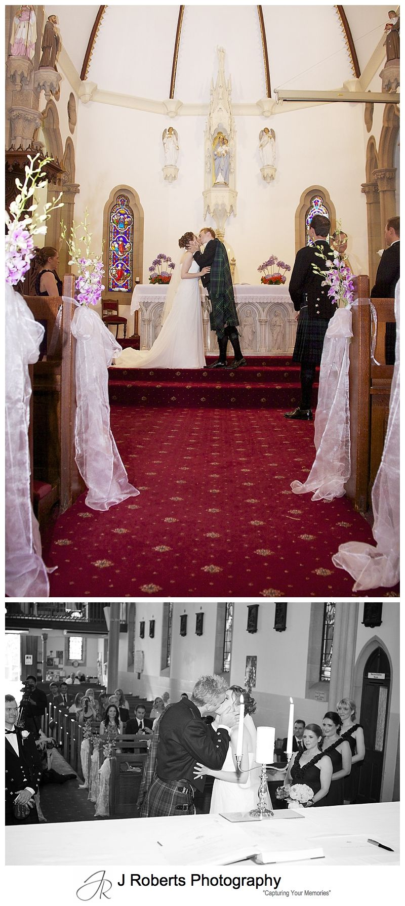 First kiss at holy name of mary hunters hill - sydney wedding photographer