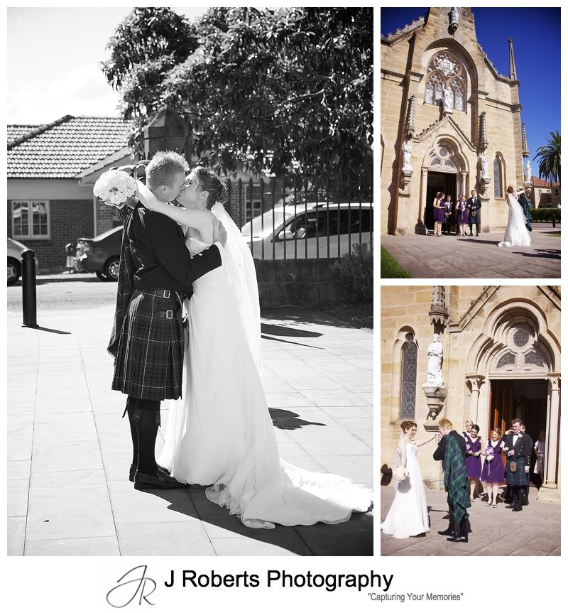 Outside church of Holy Name of Mary Hunters hill - sydney wedding photographer