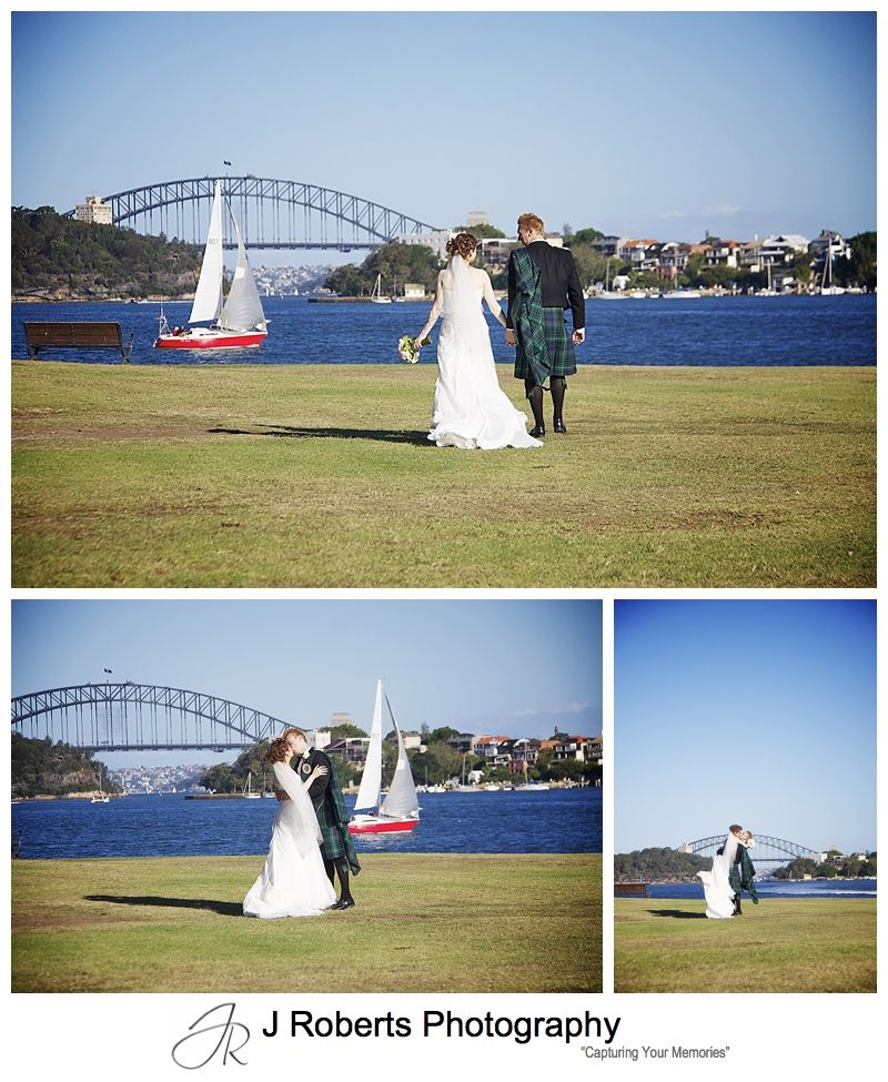 Bride and groom at Clark Park Woolwich - Sydney wedding photographer