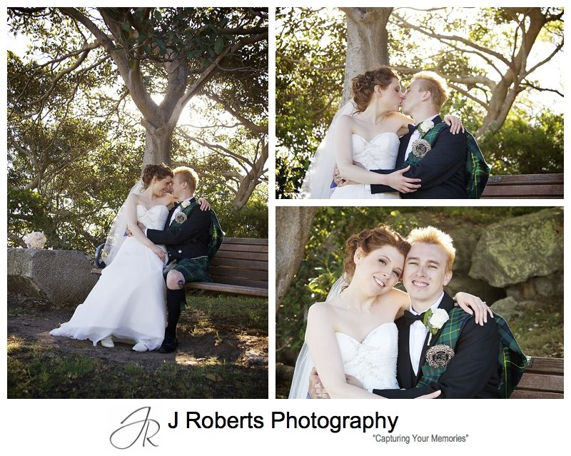 Bride and groom with setting sun at Clark Point Woolwich - sydney wedding photographer