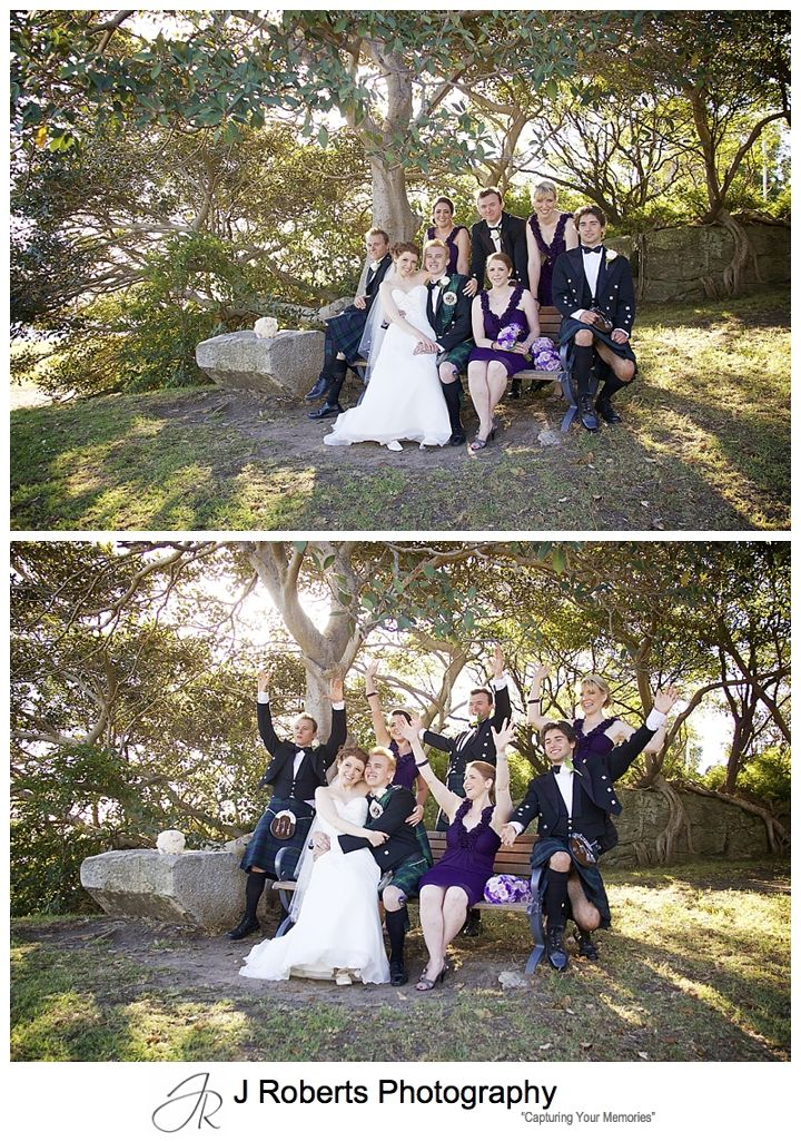Fun with the bridal party with sun setting through the trees at Clark Point Woolwich - Sydney wedding photographer